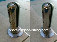 Photos of stainless steel polishing spigots to remove rust.